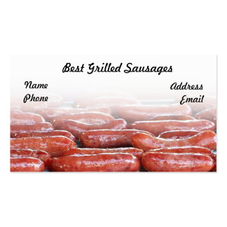 Delicious Barbecued Sausages Business Card Templates