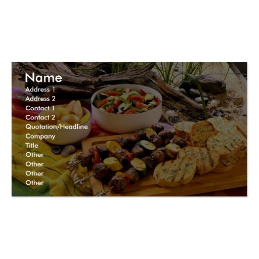 Delicious Beef shish kabob with salads Pack Of Standard Business Cards