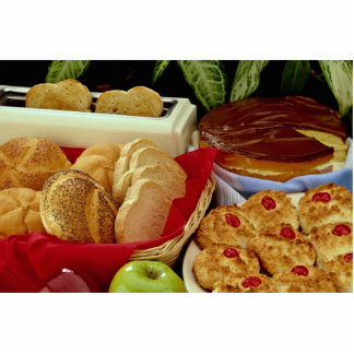 Delicious Breads, rolls, cream pie, macaroons and Acrylic Cut Out