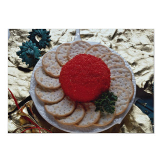 "Delicious Caviar with round crackers 5"" X 7"" Invitation Card"