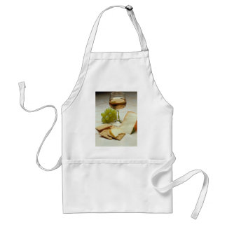 Delicious Cheese crackers and wine glass Aprons