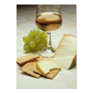 Delicious Cheese, crackers and wine glass Card