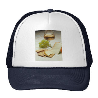 Delicious Cheese, crackers and wine glass Trucker Hat