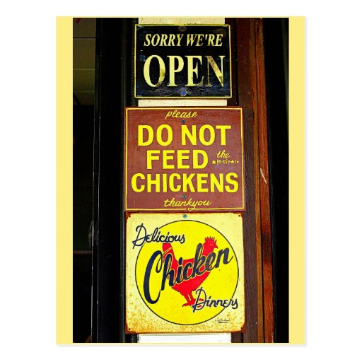 Delicious Chicken Dinners Funny Sign Post Cards