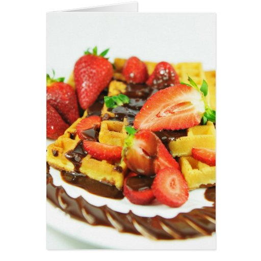 Delicious chocolate and strawberries waffle cards