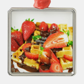 Delicious chocolate and strawberries waffle christmas ornament