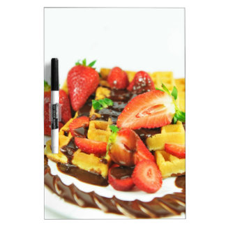 Delicious chocolate and strawberries waffle dry erase boards