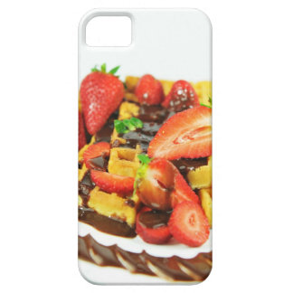 Delicious chocolate and strawberries waffle iPhone 5 cases