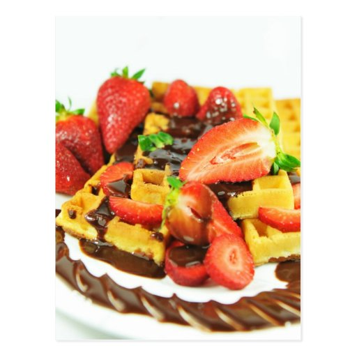 Delicious chocolate and strawberries waffle post card