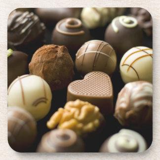 Delicious chocolate pralines drink coasters