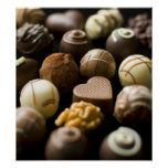 Delicious chocolate pralines poster