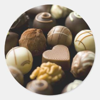 Delicious chocolate pralines round sticker
