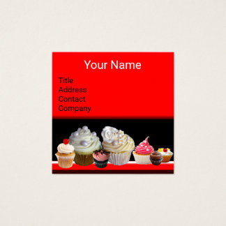 DELICIOUS CUPCAKES DESERT SHOP Black Red Bakery Square Business Card