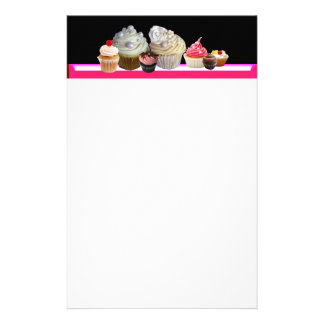 DELICIOUS CUPCAKES DESERT SHOP, Pink,Fuchsia White Stationery