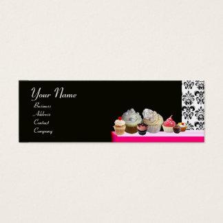 DELICIOUS CUPCAKES DESERT SHOP, Pink Purple Violet Mini Business Card