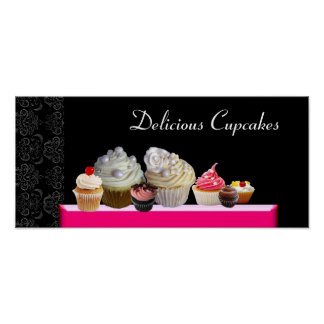 DELICIOUS CUPCAKES DESERT SHOP, Pink Purple Violet Poster