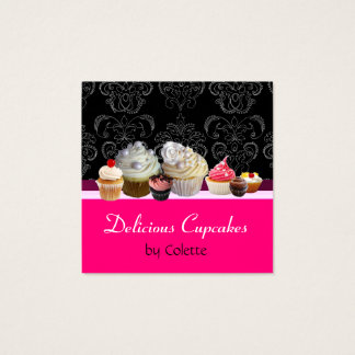 DELICIOUS CUPCAKES,DESERTS,Hot Pink Black Damask Square Business Card