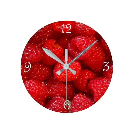 Delicious cute dark pink raspberry photograph round clock