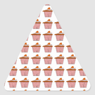 Delicious Cute Pink Cupcake With Chocolate Frostin Triangle Sticker