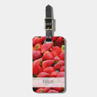 delicious dark pink strawberries photograph luggage tag