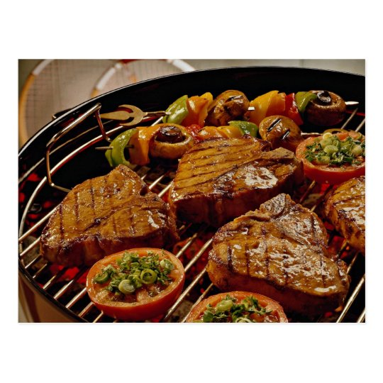 Delicious Grilled T-bone steaks Postcard