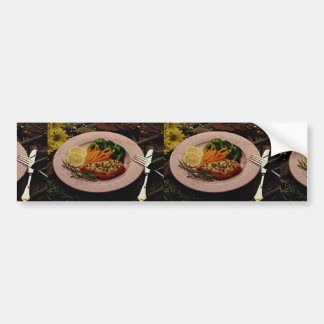 Delicious Halibut steak with carrots, fork & knife Bumper Sticker