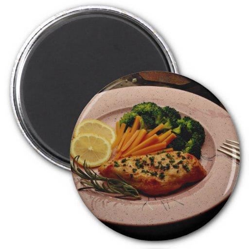 Delicious Halibut steak with carrots, fork & knife Fridge Magnet