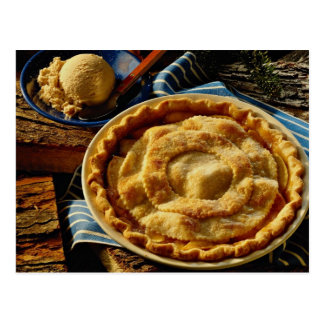 Delicious Peach pie, vanilla ice cream Postcard