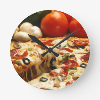 Delicious Pizza Round Clock
