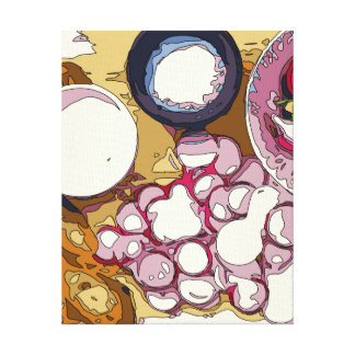 Delicious Radishes and Baguette Vegetables Gallery Wrap Canvas