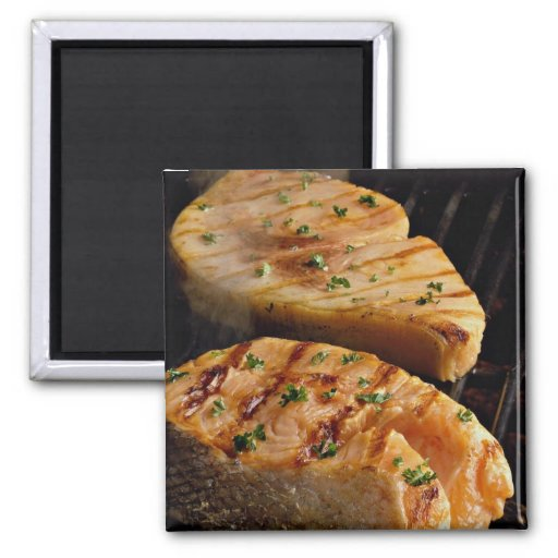 Delicious Salmon steaks on grill Refrigerator Magnet