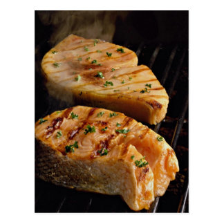 Delicious Salmon steaks on grill Postcard