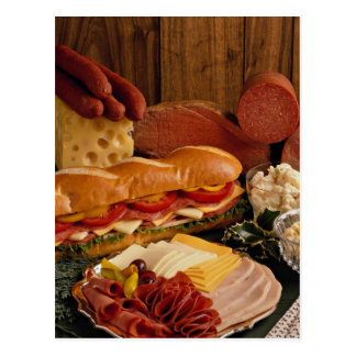 Delicious Submarine sandwich with meats and cheese Postcard