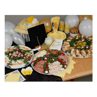 Delicious Three deli platters with balloons Postcard