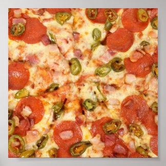 delicious whole pizza pepperoni jalapeno photo poster