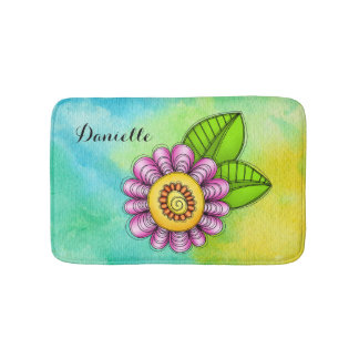 Delight Watercolor Doodle Flower Bath Mat