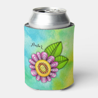 Delight Watercolor Doodle Flower Can Cooler