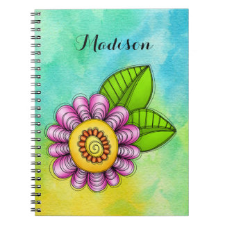 Delight Watercolor Doodle Flower Notebook