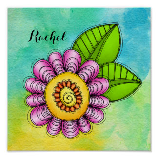 Delight Watercolor Doodle Flower Poster