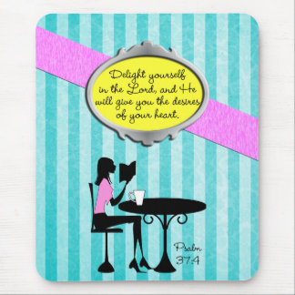 Delight Yourself in the Lord Psalm 37:4 Bible Teal Mouse Mat