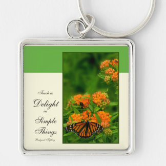 Delightful Butterfly Silver-Colored Square Key Ring