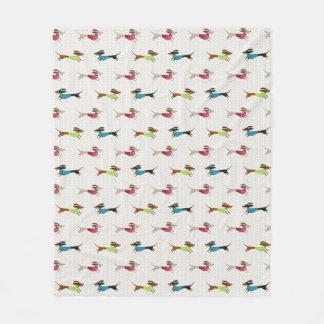 Delightful Dachshund Pattern Fleece Blanket
