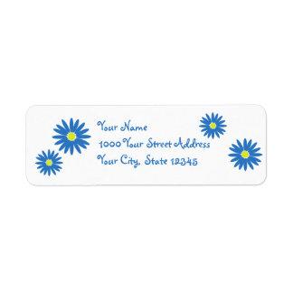 Delightful Daisies Blue Return Address Label