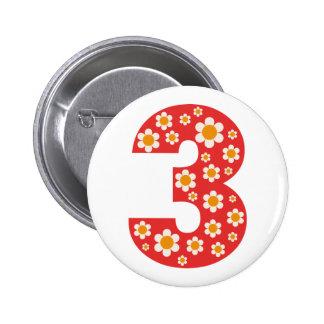 Delightful Daisies Number 3 Birthday Button