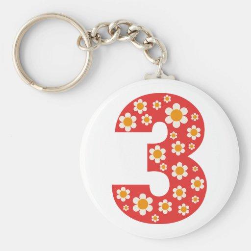 Delightful Daisies Number 3 Birthday Keychain