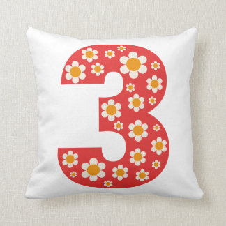 Delightful Daisies Number 3 Birthday Pillow Throw Cushions