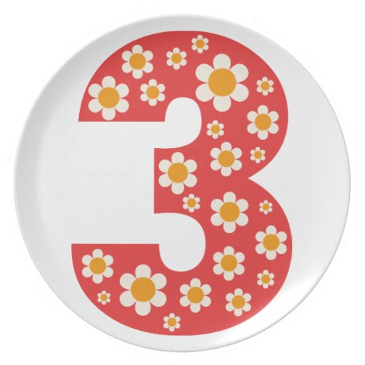 Delightful Daisies Number 3 Birthday Plate