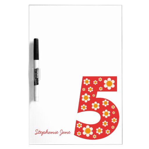 Delightful Daisies Number 5 Dry-Erase Board