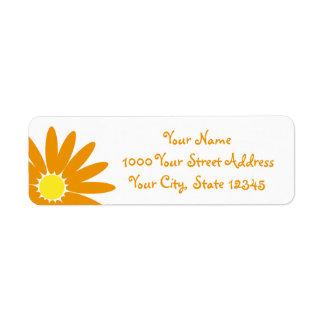 Delightful Daisy Orange Flower Return Address Label