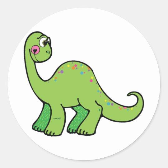 Delightful Dinosaur Classic Round Sticker